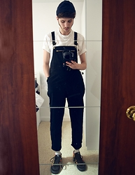 David Whitfield - American Apparel Beanie, American Apparel Dungarees, Vans Supreme X Sk8 Hi, Supreme T Shirt - PRISON STEEZE