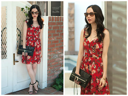 Lisa Valerie Morgan - Milly Clutch, Ava & Aiden Sandals, Versace Sunglasses, The Kooples Dress - Melrose Place