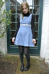 Annie Honey Mac - Polo Neck, Vintage Dress, John Lewis Tights, Charity Shop Brogues - Denim & Daisies
