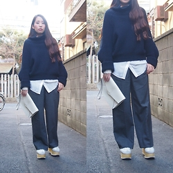 Yu Kuwabara - Toga Pulla Rib Knit Pullover, G.V.G.V. Tailored Wide Leg Trousers, Murua Long Shirt, Durbuy Wooden Sole German Trainers, Dholic Leather Clutch - Wide Pants