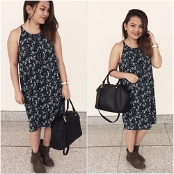 Anna Alexis - Mango Midi Floral Dress, H&M Bag, New Look Ankle Boots - #08
