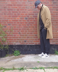 Harry Maddison - Adidas Leather Cap, Lacoste Roll Neck, J. Crew Overcoat, Vivienne Westwood Watch, Racing Green Pinstripe Trousers, Nike Shoes - Brickwork