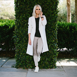 Dannon K Collard - Forever 21 White Coat, Forever 21 Khaki Twill Pants, H&M White Sneakers - Keeping it Casual