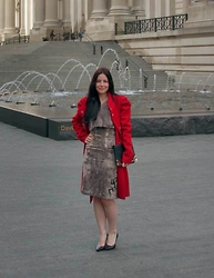 Alex Llana - Miss Sixty Coat, Balenciaga Shoes, Alala Skirt, Alala Top Crop - Red and Gray