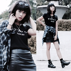 Abil Arresta - New Look Leather Skirt, Topshop Buckled Boots - Fuck Off • オフファック