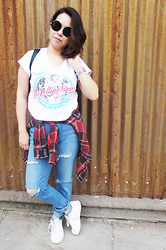 Nelly Ojeda - Local Boutique Sunnies, Cotton On Rolling Stones Tee, My Brother's Closet Plaid Flannel, Ralph Lauren Hw Jeans, Nike White Sneakers - Road trip Diary: Outfit & More...