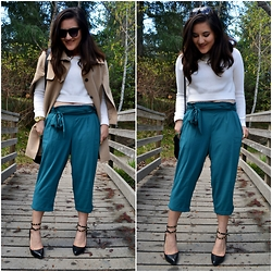 Linda B - Eshakti Cropped Trousers, Forever 21 Cropped Cream Sweater, Just Fab Pointed Toe Heels - EShakti's Custom Fit Pants