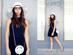 Patricia Prieto - Topshop Hat, Topshop Dress, Kate Spade Bag - Black, White & Gray