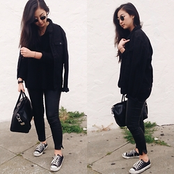 Tiffany Wang - Zara Jacket, Ray Ban Sunglasses, Blank Nyc Leather Pants, Converse Sneakers, Givenchy Bag - BACK TO BLACK