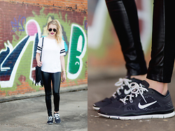 Payton Sartain - Boohoo Top, Forever 21 Vegan Leather Leggings, Nike Shoes, Nasty Gal Bag - Sporty & Simple
