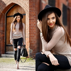 Larisa Costea - Oasap Hat, Zara Blouse, Sheinside Ripped Jeans, Jessica Buurman Sandals - Basics not that basic