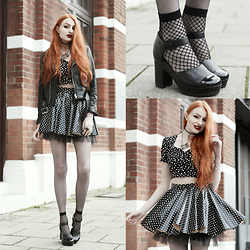 Olivia Emily - Unif Faux Leather Jacket, Style London Polka Dot Top, Black Milk Clothing Polka Party Cheerleader Skirt, The Serpents Club Clear Quartz Necklace, Asos Fishnet Socks, Asos 'Painter' Patent Heeled Mary Janes - Dark Polka Party.