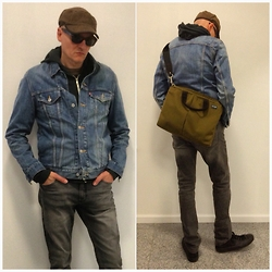 John G. - Levi's® Jean Jacket, H&M Slim Black Jeans, American Apparel Hoodie, Jack Spade Messenger Bag, Converse Black Leather Chucks - Jean Jacket