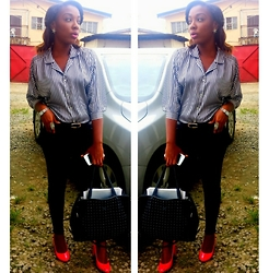 Priscillia Okpan - Black Leather Bag, Thrift Store Silver Ring, Pink Pumps, Silk Button Up Batwig Shirt, Blask Stretch Jeans - The other day!