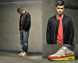Boris Cornilleau - April 77 Black Bomber, H&M Red Sweater, Rick Owens Washed Jeans, Nike Am97 3.26 Sneakers - LXXV - B-day