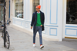 Chaby H. - H&M Car Coat, H&M Green Sweater, H&M Suit Trousers Modern Essentials Selected By David Beckham, Alex&Chloe Orange Cap, Spektre Orange Sunglasses - Colorful spring