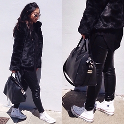 Tiffany Wang - Topshop Coat, H&M Pants, Converse Sneakers, Givenchy Bag, Ray Ban Aviators - FUR X LEATHER