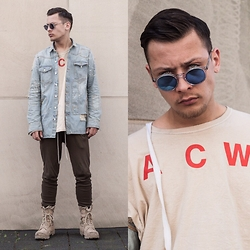 Mago Dovjenko - Off White Denim Jacket, Favela Clothing Jogger Pants, Us Army Boots, A Cold Wall* Longsleeve, Ace And Tate Shades - COLD WALL