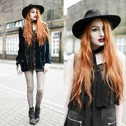 Olivia Emily - Catarzi Wide Brim Fedora, One Teaspoon Blue Velvet Blazer, Asos Black Skinny Scarf, Black Milk Clothing Sheer Spot Swing Crop, Asos Zip Up Leather Skirt, Ash Footwear Rebel Studded Boots - Velvet Smoke.
