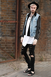Geraint Donovan-Bowen - Topman Fedora, Joseph Jacket, Blitz Gilet, Rabbithole London Vest, Urban Outfitters Necklace, Gypsy East Jewels Septum Ring, Zara Jeans, New Look Sandals - His Name Is Gypster