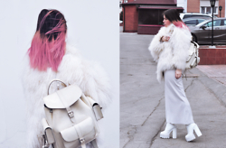 Dasha Farsh - Grafea Rucksack, Jeffrey Campbell Mulder, Mongolian Lamb Fur Coat - Bubblegum