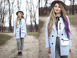 ♡Anita Kurkach♡ - Sheinside Grey Trousers, Wholesale7 Shoes, Tomtop Shirt, Tomtop Coat, Asos Bag, Oasap Hat - Blue & Grey!