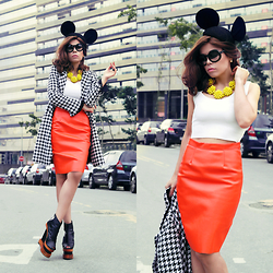 Priscila Diniz - Orange Skirt, Mickey Ears, Boots, Necklace (Similar), Coat - Modern Minnie Mouse!