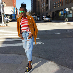 Liz Lizo - Acne Studios Suede Jacket, Comme Des Garçons Stripped Top, Forever 21 High Waist Ripped Jeans, Stella Mccartney Star Sneakers, Ray Ban Mirrored Sunglasses - High-Waist Casualness