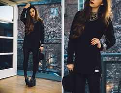 Stacey Gray Macdonald - Drop Dead For Your Pleasure Crewneck, H&M Wide Brim Fedora, Unif Boots - Little Black Sweater