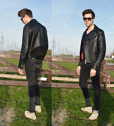 Jordi - Acne Studios Gibson Leather Jacket, Cos Knit, H&M Jeans, Filippa K Shoes - Leather and Spring