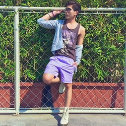 Christian Salonga - River Island Lilac Swim Shorts, Dr. Martens Off White Pascal Boots, Cotton On Graphic Tank Top - Lilac