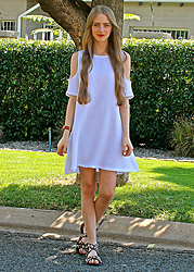 Nikki S - Cotton On Dress - White Cut Out Shoulder Dress and Leopard Print Sandals