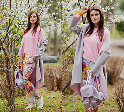 Viktoriya Sener - Blackfive Pink Sweater, Sheinside Coat, Ipekyol Trousers, Mango Trainers, Zerouv Sunglasses, Tinydeal Backpack - COLORS OF MY SPRING