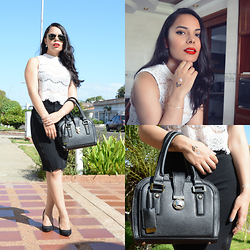 Eymi A. - Ray Ban Aviator Sunglasses, Ivanka Trump Ella Satchel Bag, Zara Zippered Pencil Skirt, Vanity Lace Crop Top - Monochromatic