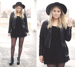 Fanny Lindblad - Bikbok Dress, Cubus Biker Jacket, H&M Hat - Black tulle