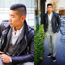 Leo Chan - Zara Leather Jacket, Express Plaid Vest & Suit Pants, Gap Shawl Cardigan, Kenneth Cole Chronograph Watch, Kenneth Cole Leather Slip On Sneakers - Grace
