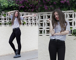 Mariana Moratalla - Dresslink T Shirt, Bershka Jeans, Tuk Creepers - Stripes at the street