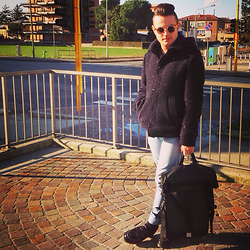 Gabriele Giuzzi - Sisley Coat, Spitfire Sunglasses, Cheap Monday Jeans, Dr. Martens Shoes, Wooden Backpack - Sunny day in Brescia