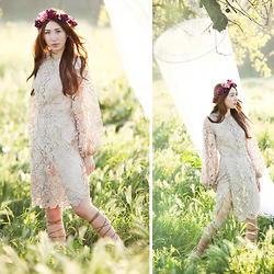 Alyssa Casares - Alyssa Nicole Lace Bell Sleeve Dress, Gladiator Sandals, Spellbound Crowns Floral Crown - Hummingbird