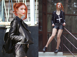 Kseniya Mazhara - Mango Leather Jacket, H&M Cross Top, Leather Shorts, H&M Boots, H&M Backpack - Cross's savor
