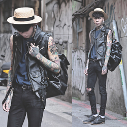 IVAN Chang - Vintage Leather Vest, Asos Top, Mcving Backpack - 160415 TODAY STYLE
