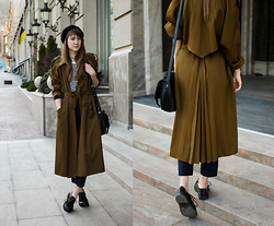 Nastia Poberezhna - Zara Striped Top, Shellys London Boots, New Look Satchel Bag - Full Length Coat