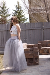 Cindy Batchelor - Shabby Apple Grey Wooster Tulle Maxi Skirt - The Cinderella Fashion Moment