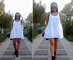 Tneale Williams - Cotton On White Dress, Fashion Express Patent Boots - Colour of Love.