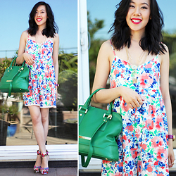 Sherry Lou - Everly Romper, Ivanka Trump Green Bag, Forever 21 Wedges - Floral Spring Romper