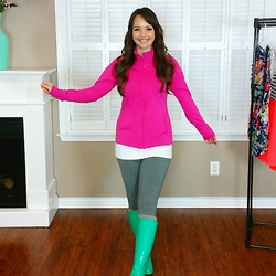 Amie - Track Jacket, Tank Dress, Leggings, Leg Warmers, Turquoise Rain Boots - Springtime Rainy Day