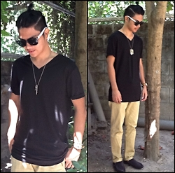 Mark Adaya - H&M Black V Cut Shirt, Armani Exchange Plate - See you again