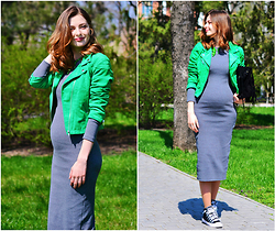 Malinina-ek - - H&M Jacket, Sheinside Dress, Converse Sneakers - Green and gray)
