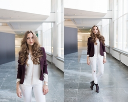 Jana Couture - Zara Blouse, H&M Boots - White and Burgundy