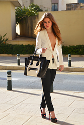 Lara Rose Roskam - Celine Monochrome Bag, Supertrash Black White Suit - THE CHIC SET